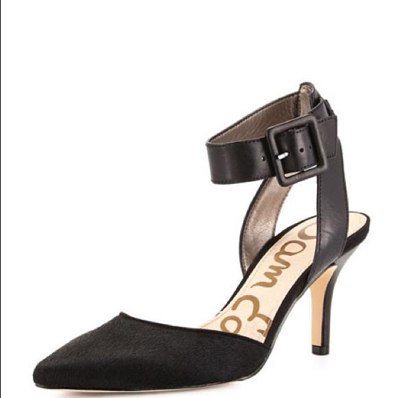 efd55bdc5b80 Sam Edelman Okala Calf Hair Black Ankle Strap Heel.  M 5b3e836004e33dc0041b83a2